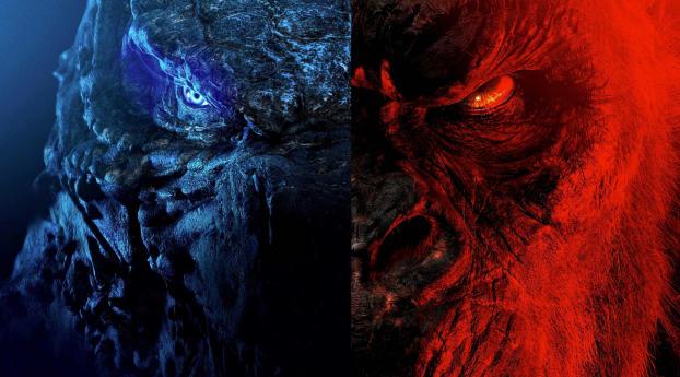 Poster of Godzilla vs Kong 201 Wallpaper 1336x768 Resolution