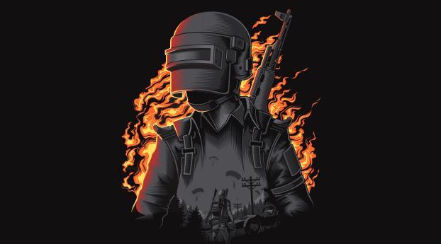PUBG Fire Illustration Wallpaper 1600x900 Resolution