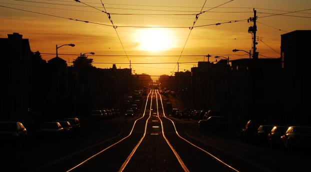 HD Wallpaper | Background Image Railway Line And Sunset