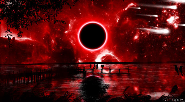 Red Eclipse Digital Art Wallpaper 1440x900 Resolution
