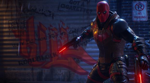 Red Hood Gotham Knights Game Wallpaper 320x240 Resolution