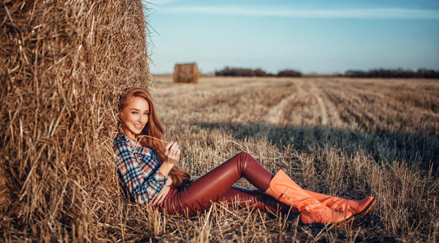 Redhead Women Outdoors In Leather Pants Wallpaper 750x1334 Resolution