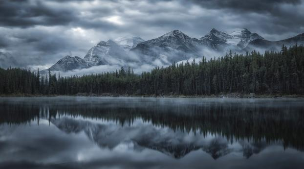 HD Wallpaper | Background Image Reflection Of Cloud And Mountains In Forest Lake