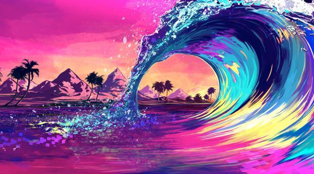 Retro Wave Ocean Wallpaper
