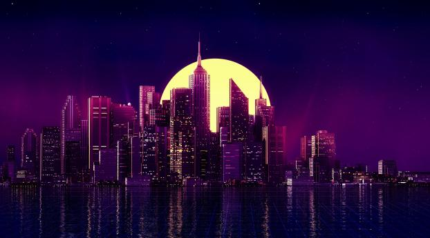 Retro Wave Purple Skyscraper City Wallpaper