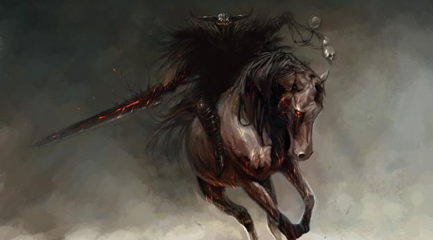 rider, horse, wizard Wallpaper 1080x2280 Resolution