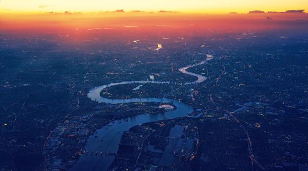 River Thames London Aerial View Wallpaper