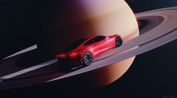 Roadster 2021 in Space Wallpaper