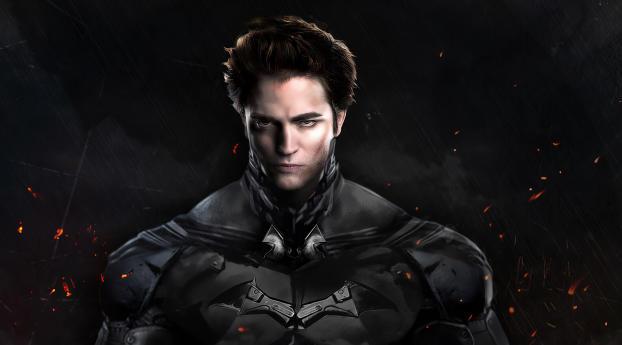 Robert Pattinson Batman Costume Art Wallpaper 1336x768 Resolution