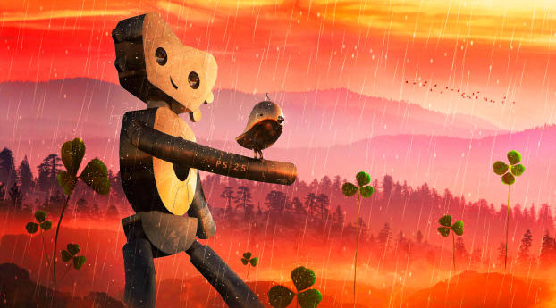 HD Wallpaper | Background Image Robot and Bird