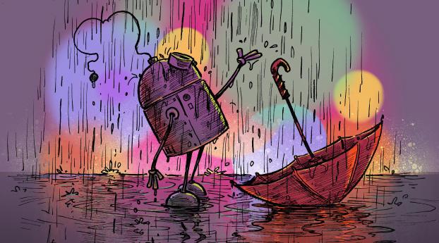 HD Wallpaper | Background Image Robot Rain Illustration