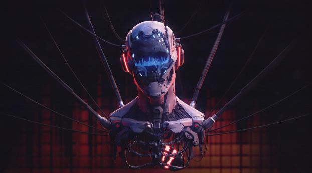 Robot Skull Playing Music Wallpaper