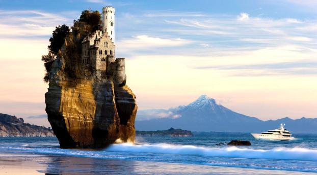 rock, sea, castle Wallpaper