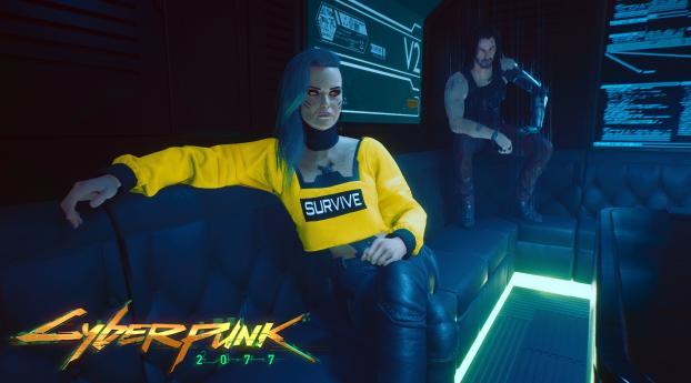 Rogue and Johnny Silverhand Cyberpunk 2077 Wallpaper