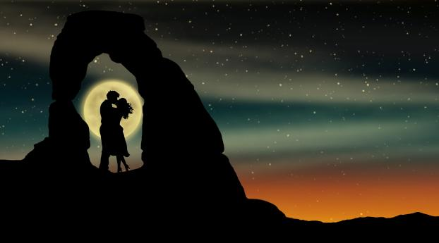 HD Wallpaper | Background Image Romantic Kiss Over Moon