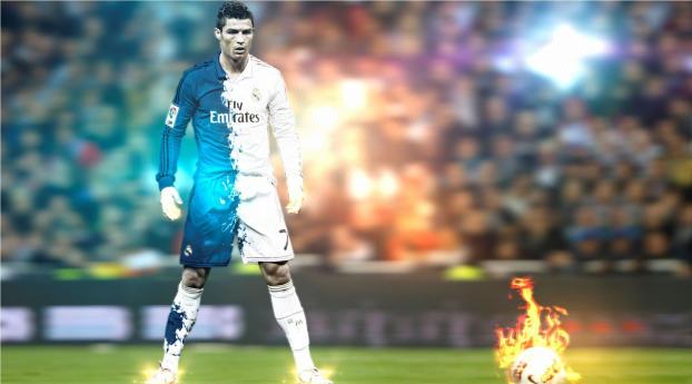 Ronaldo Standing and Fire Shot Wallpaper