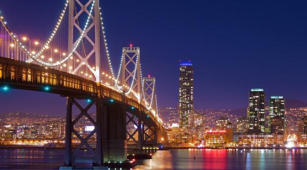 1024x768 San Francisco Night Bridge 1024x768 Resolution