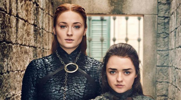 HD Wallpaper   Background Image Sansa Stark and Arya Stark Game Of Thrones 8