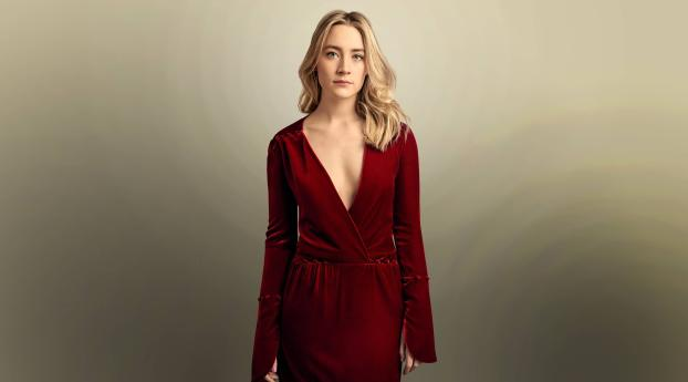 HD Wallpaper | Background Image Saoirse Ronan in Red Dress