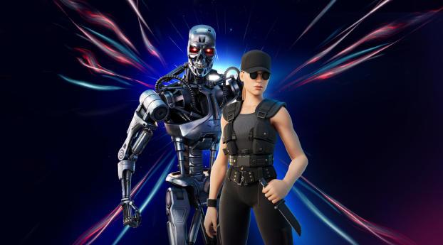 Sarah Connor and Terminator 800 Fortnite Wallpaper 1280x800 Resolution