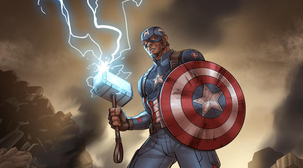 HD Wallpaper | Background Image Shield Captain America with Thor's Hammer