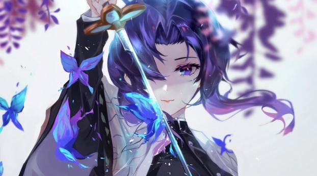 Shinobu Kocho Anime Art Wallpaper