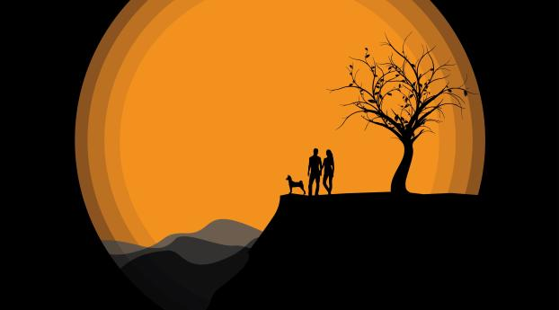HD Wallpaper   Background Image Silhouettes Couple Near Moon