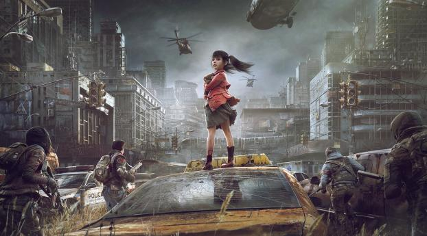 HD Wallpaper | Background Image Small Girl In Post Apocalyptic