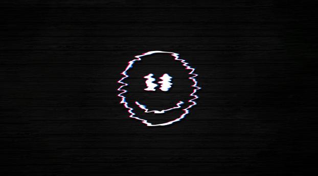 Smiley Glitch Dark Black Wallpaper 240x400 Resolution