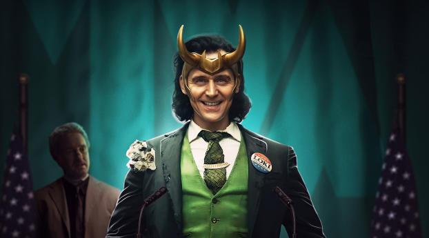 Smiling Loki Disney Wallpaper 5120x2880 Resolution