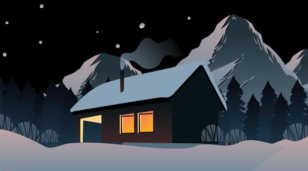 Snowy House In Mountains 4K Wallpaper