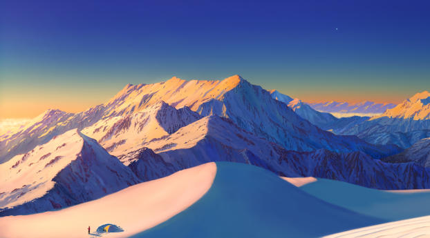 Snowy Mountains Wallpaper 2560x1440 Resolution