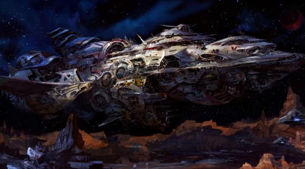 space, ship, spaceship Wallpaper 5120x2880 Resolution