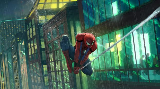 HD Wallpaper | Background Image Spider Man Flying in Rain