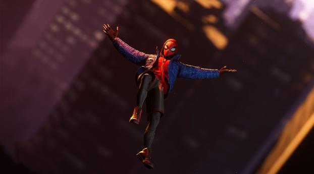 Spider-Man Flying Miles Morales Wallpaper