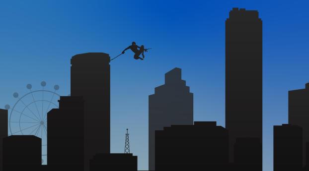 Spider Man Flying Minimalist Wallpaper