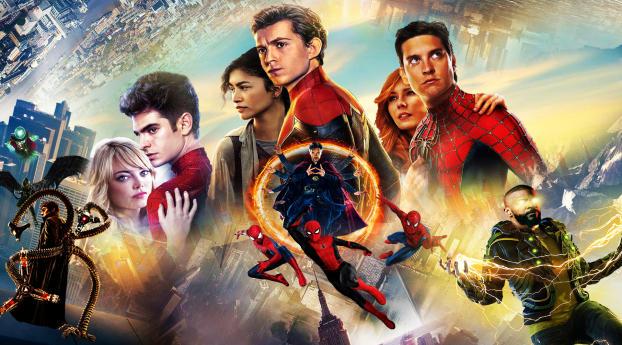 Spider Man No Way Home Multiverse Art Wallpaper