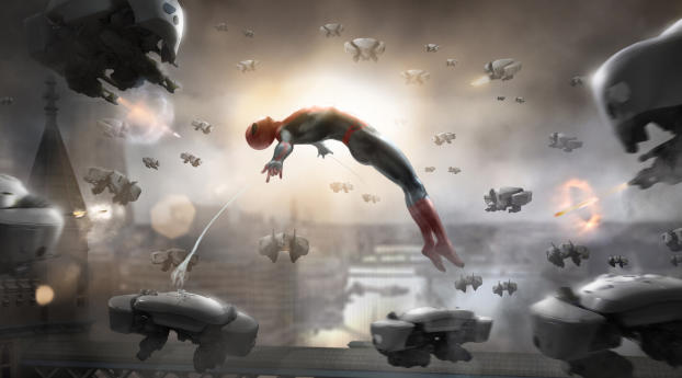 HD Wallpaper   Background Image Spiderman Against Drones