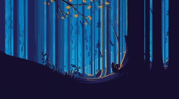 Wallpaper Illustration Graphic Design Roar Movie: Squirrel In Forest Illustration, Full HD 2K Wallpaper