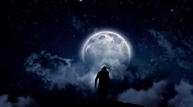 Staring At The Moon Wallpaper 480x854 Resolution