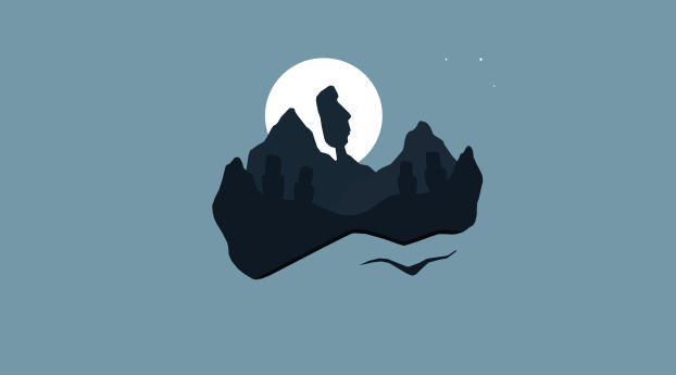 HD Wallpaper   Background Image Statues on Mountain At Night