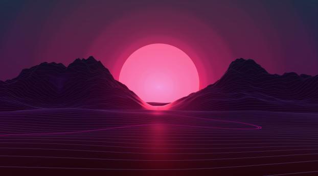 Sun In Retro Wave Mountains Wallpaper
