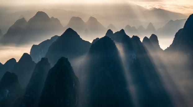 HD Wallpaper | Background Image Sunbeam Mountains