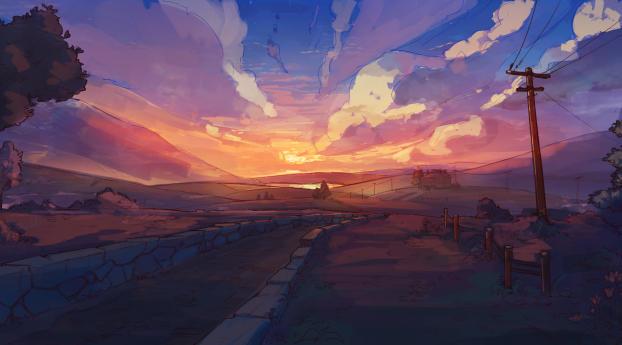 Sunset Artistic Landscape 4k New Wallpaper 1125x2436 Resolution