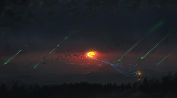 HD Wallpaper | Background Image Sunset Fantasy Illustration, Light trails Forest