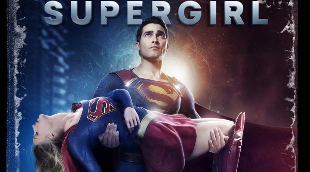 Superman saving Supergirl Wallpaper