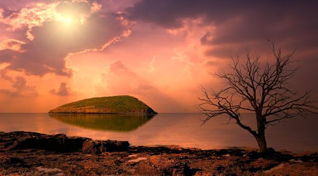 HD Wallpaper | Background Image Surreal Sunrise Near Ocean Lighthouse