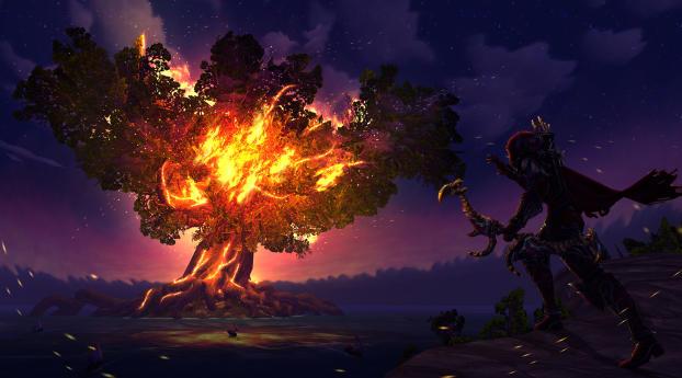 HD Wallpaper | Background Image Sylvanas Windrunner Fire Tree World of Warcraft