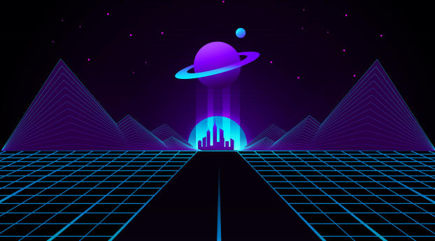 HD Wallpaper | Background Image Synthwave Planet Retro Wave