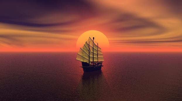 HD Wallpaper | Background Image Tall Ship Sunset